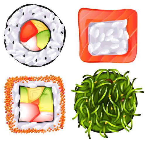 Draufsicht auf die verschiedenen japanischen Speisen vektor