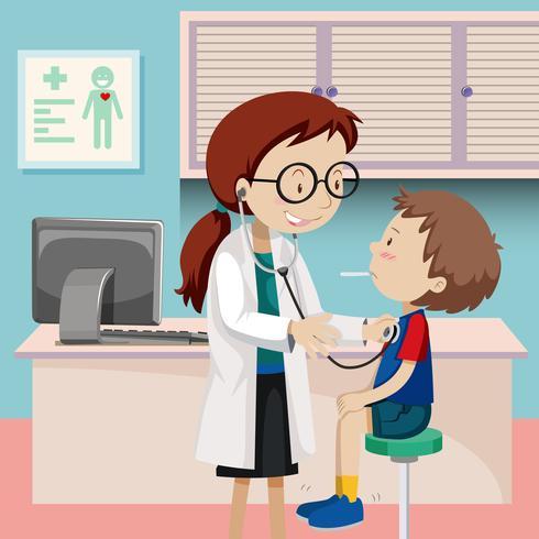En pojke checkup på sjukhus vektor