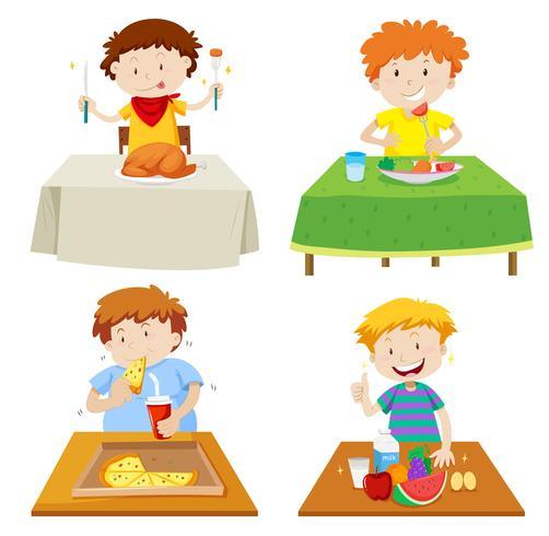Pojkar äter vid matbordet vektor