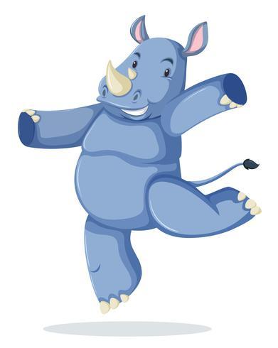 En noshörning karaktär på vit bakgrund vektor