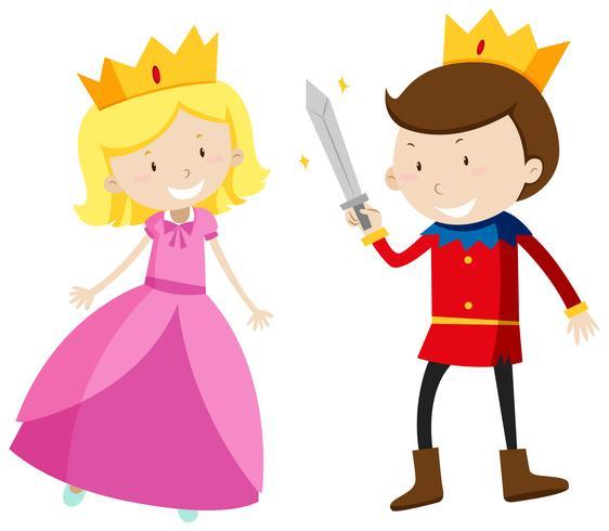 Prinz und Prinzessin, die glücklich schauen vektor