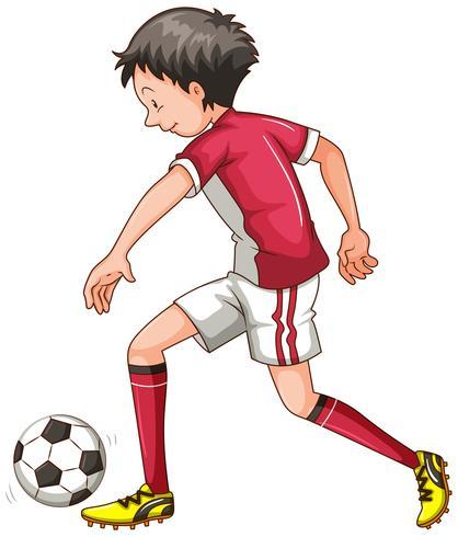 Mann in der roten Ausstattung, die Fußball spielt vektor