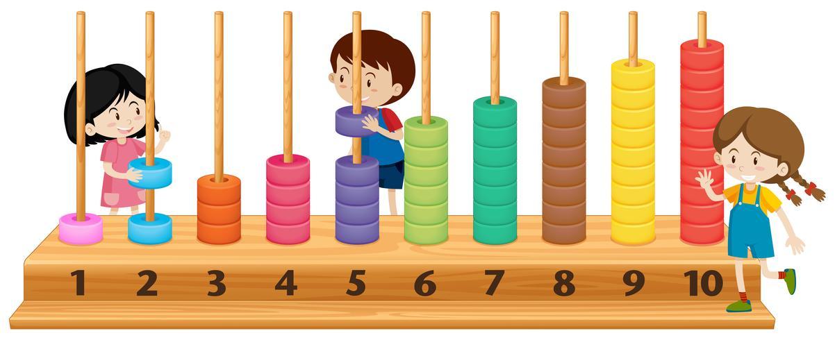 Kinder spielen mit Abakus vektor