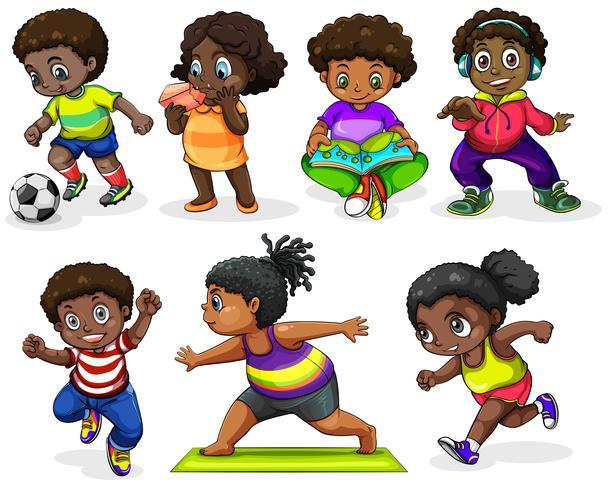 Afrikanische Kinder, die verschiedene Aktivitäten ausüben vektor