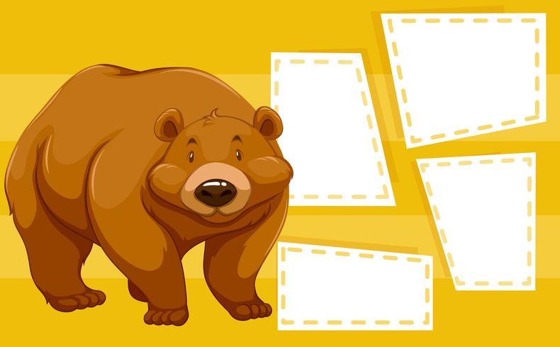 Ein Bär auf leere Notiz vektor