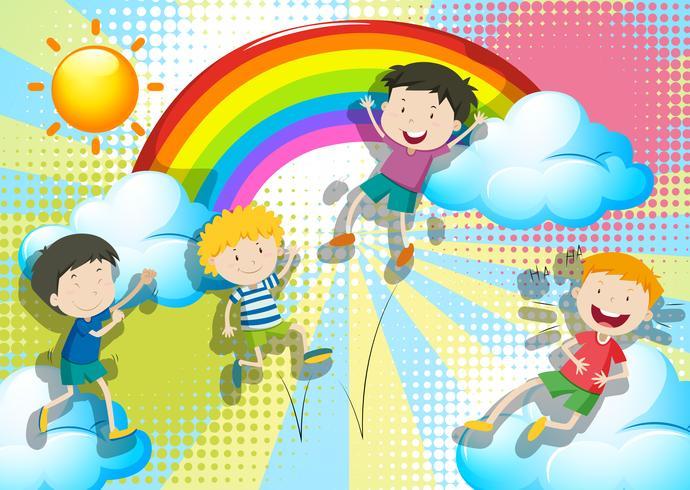 Pojkar hoppar upp i himlen vektor