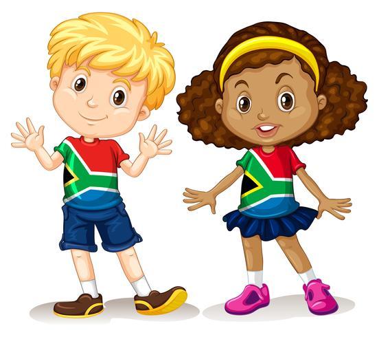 Pojke och tjej från Sydafrika vektor