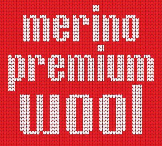 Stickad text. Merino premiumull. Inr ed och vita färger. Vektor illustration.