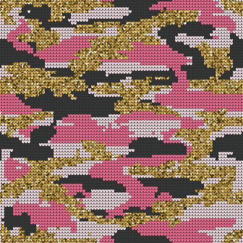 Abstrakte strickende nahtlose Beschaffenheit. Militärischer dekorativer Tarnungs-Muster-Hintergrund. Vektor-Illustration. vektor