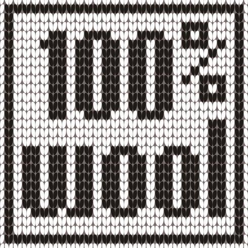 Stickad text. 100 procent ull. I svartvita färger. Vektor illustration.