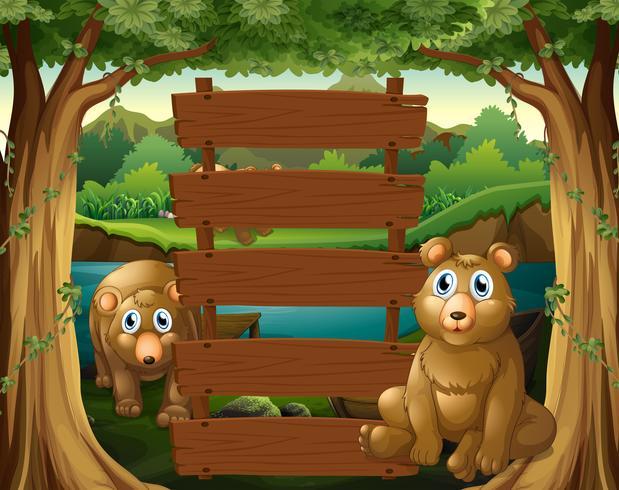 Holzschild und Bären im Wald vektor