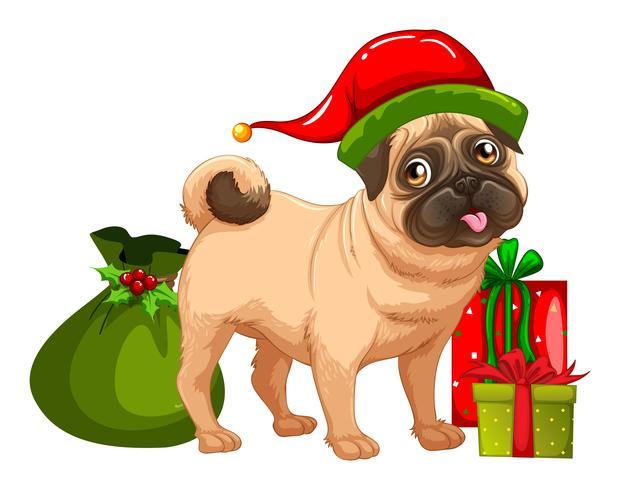 Jul tema med söta hund och presentförpackningar vektor