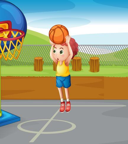 Kleiner Junge Basketball schießen vektor