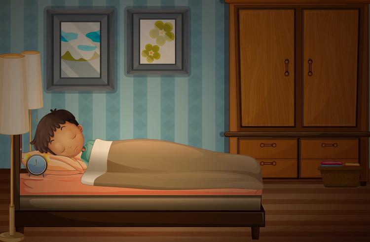 Liten pojke sover på sängen vektor