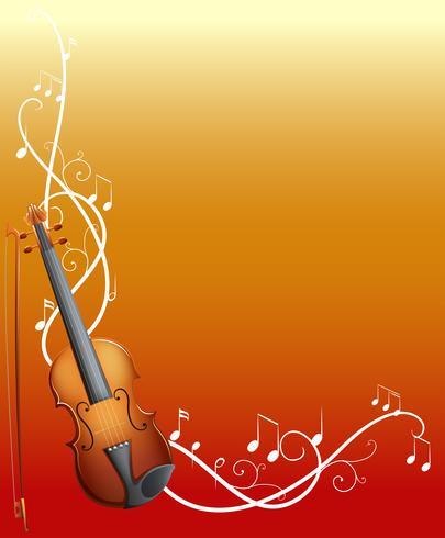 Bakgrundsdesign med violin och musikanteckningar vektor