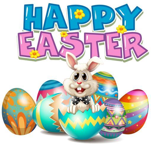 Glad påsk med kanin i ägg vektor
