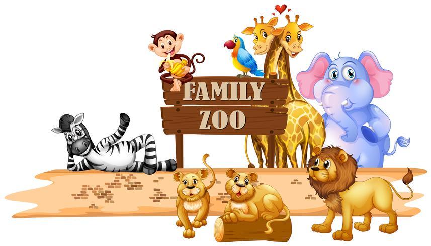 Vilda djur som bor i djurparken vektor