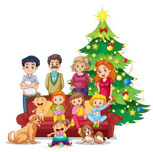 Familj samlas på jul vektor