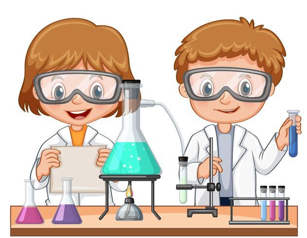Två barn gör vetenskapsexperiment i klassen vektor