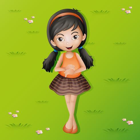 Glückliches Mädchen, das auf Gras liegt vektor