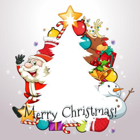 Weihnachtsthema mit Weihnachtsmann und Verzierungen vektor