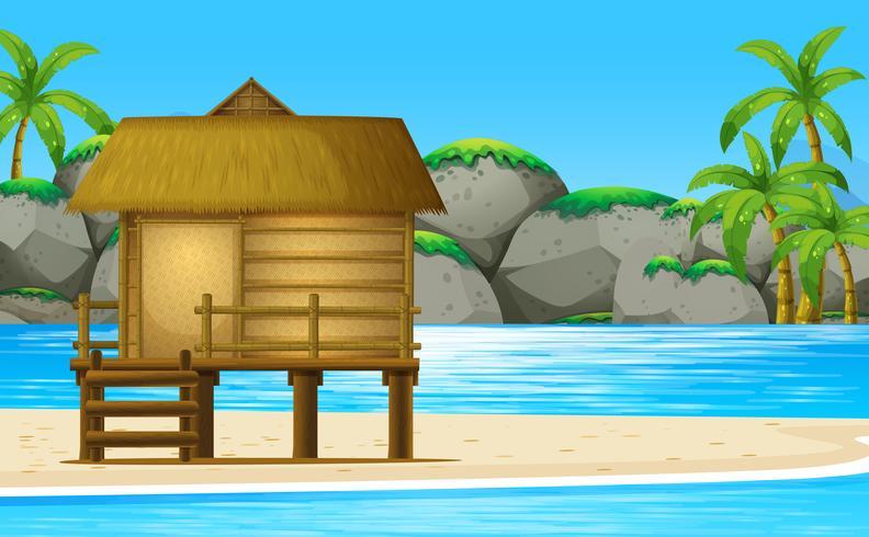 Trähytt på stranden vektor