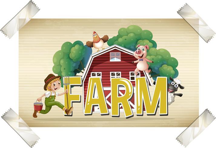 Flashcard för ordbruk med jordbrukare och djur vektor