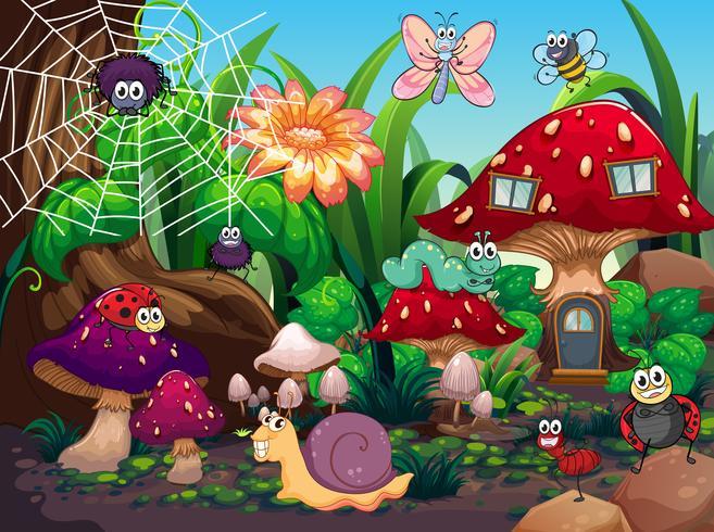 Insekten, die im Garten zusammenleben vektor