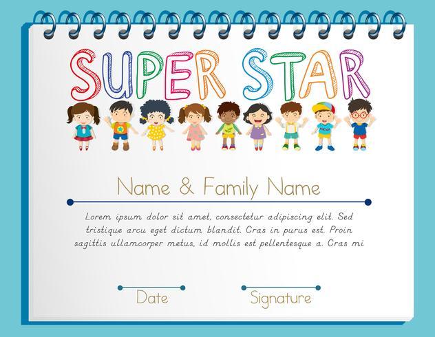 Certifikatmall för superstjärnan med många barn vektor