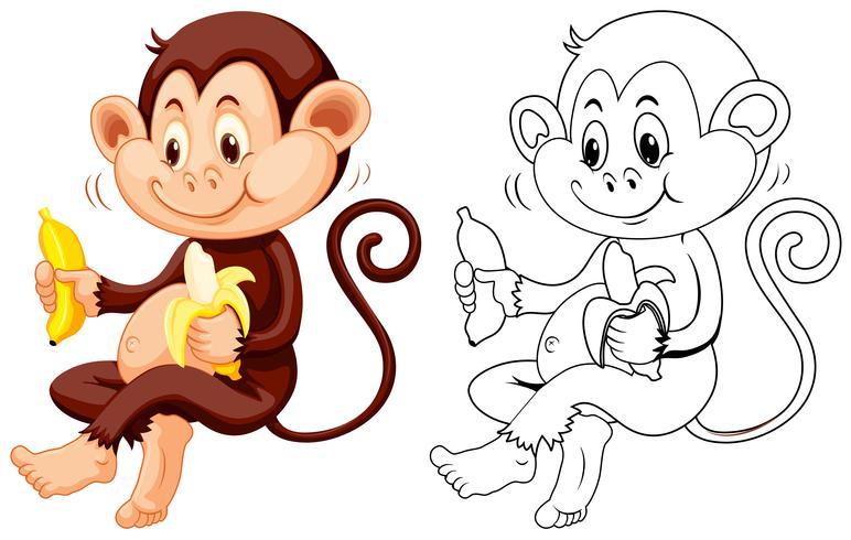 Tierentwurf für Affen essen Banane vektor
