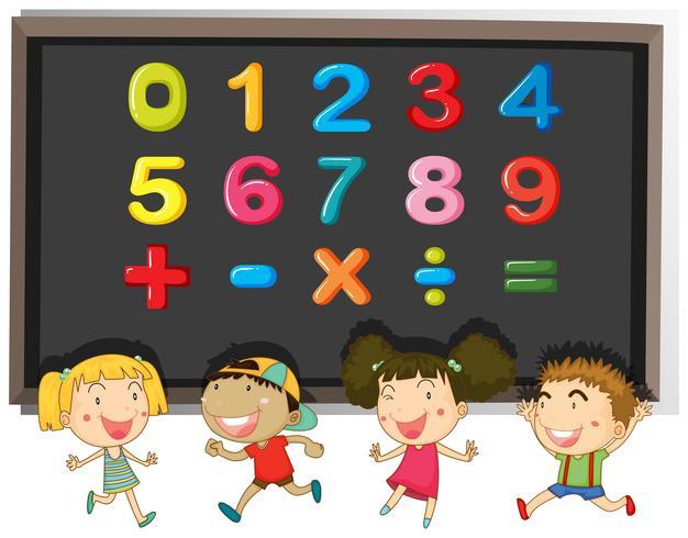 Numrerar och tecken på tavlan vektor