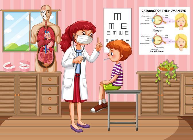 Doktor, der oben Jungengesundheit in der Klinik überprüft vektor