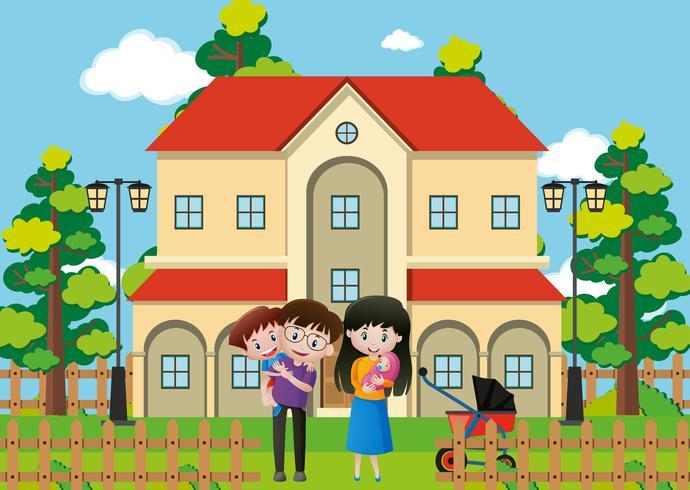 Familjen står framför huset vektor