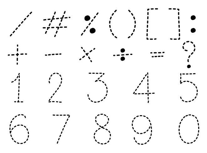 Nummer ett till noll och matte tecken vektor