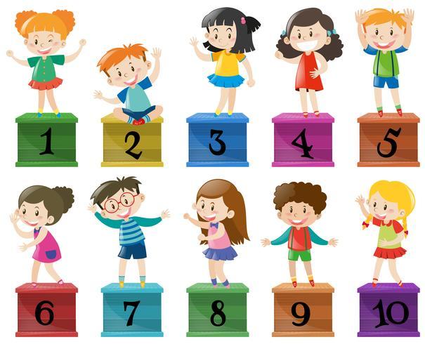 Kinder und Nummer eins bis zehn vektor