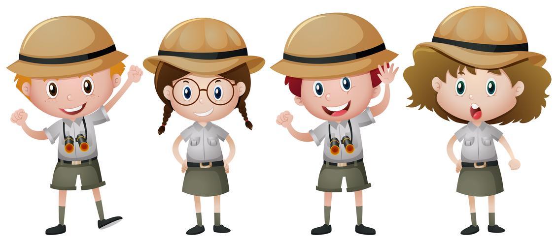 Fyra barn i safari outfit vektor