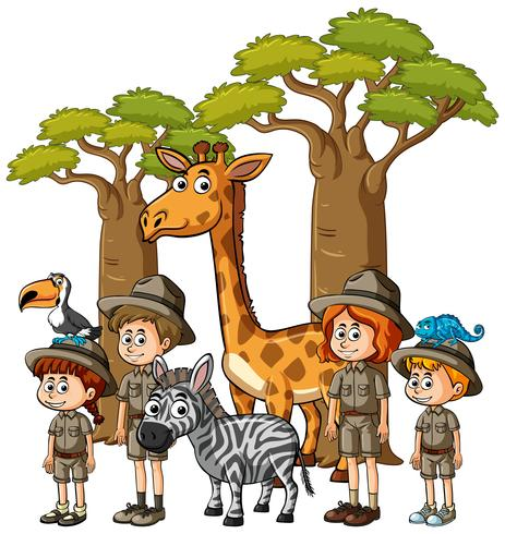 Kinder im Safarioutfit mit vielen Tieren vektor