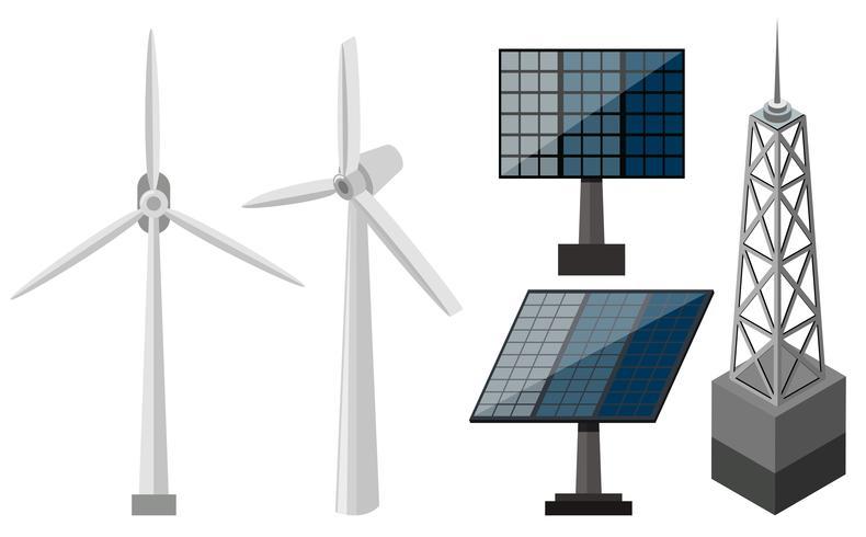 Olika utrustning för elproduktion vektor