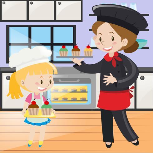 Kock och liten tjej i köket vektor