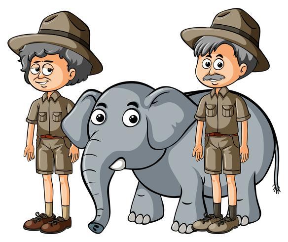 Två parkranger med baby elefant vektor