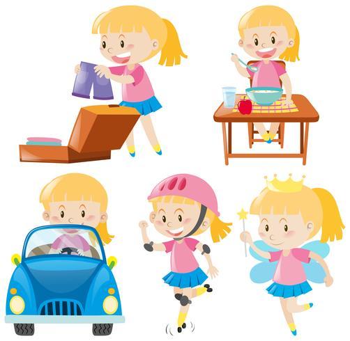Flicka i rosa gör olika aktiviteter vektor