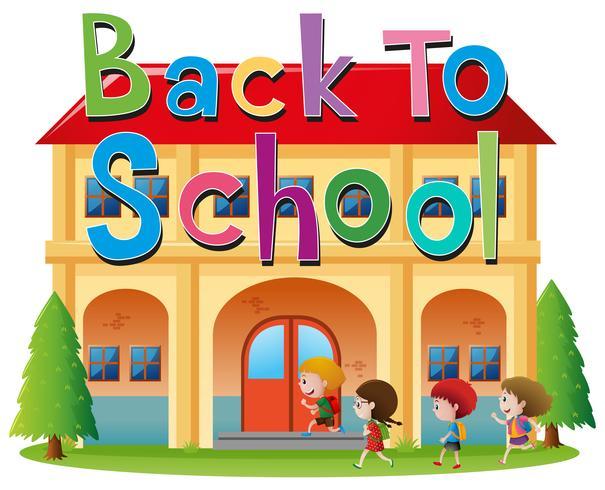 Tillbaka till skolan tema med barnen går till skolan vektor