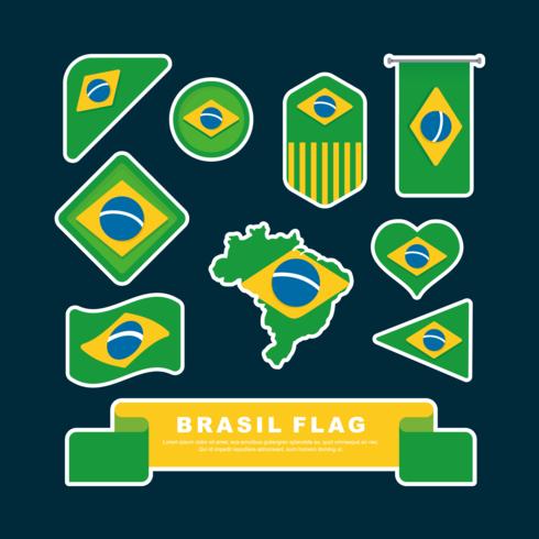 Brasilien-Flagge Clipart gesetzter Vektor