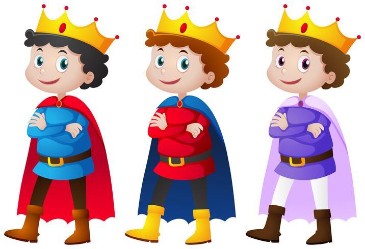 Prins i tre olika kostymer vektor