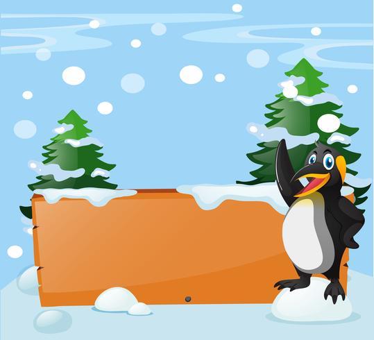 Brädmall med pingvin i snö vektor