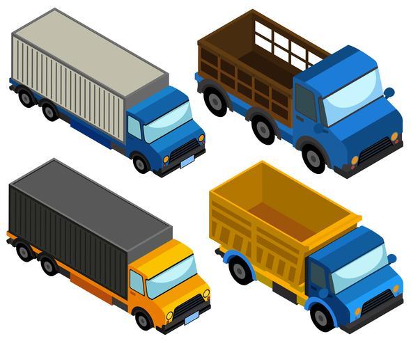 3D-Design für verschiedene LKW-Typen vektor