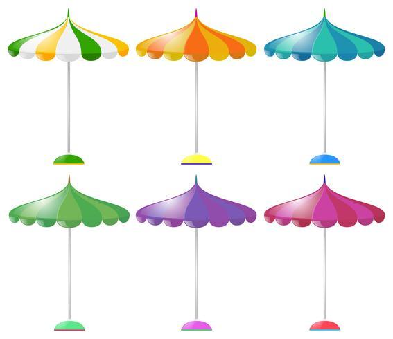Strandparaply i sex olika färger vektor
