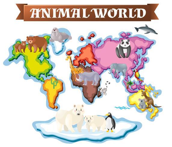 Djur i olika delar av världen på kartan vektor