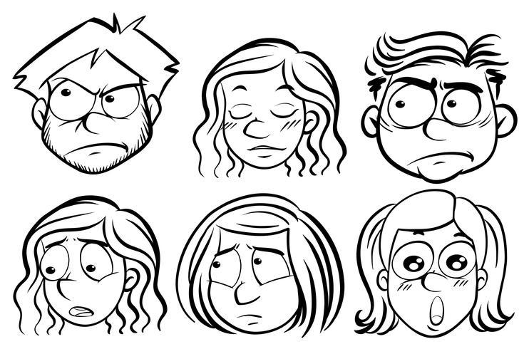 Sechs Menschen mit unterschiedlichen Ausdrücken vektor