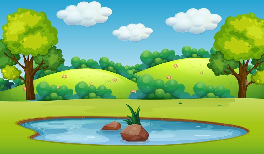 En natur damm landskap vektor